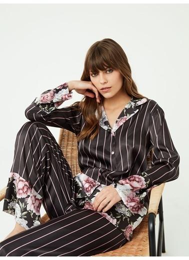 Nbb Çizgili Saten Pijama Takımı 3385 Siyah